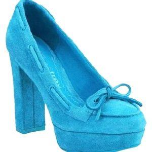 Sperry Jeffrey Turquoise Blue Suede Heels